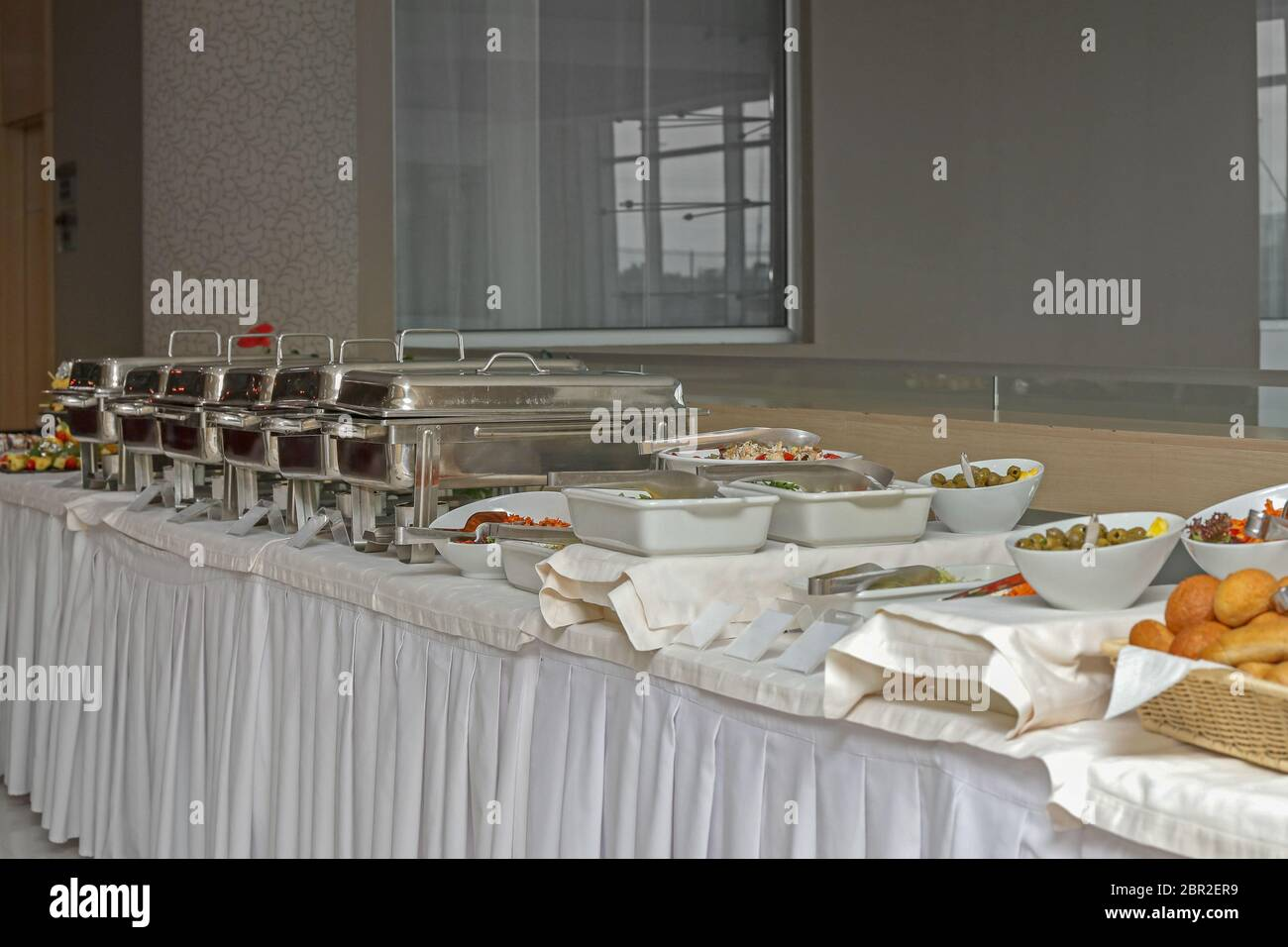 Served Food At Big Long Buffet Table Stock Photo Alamy