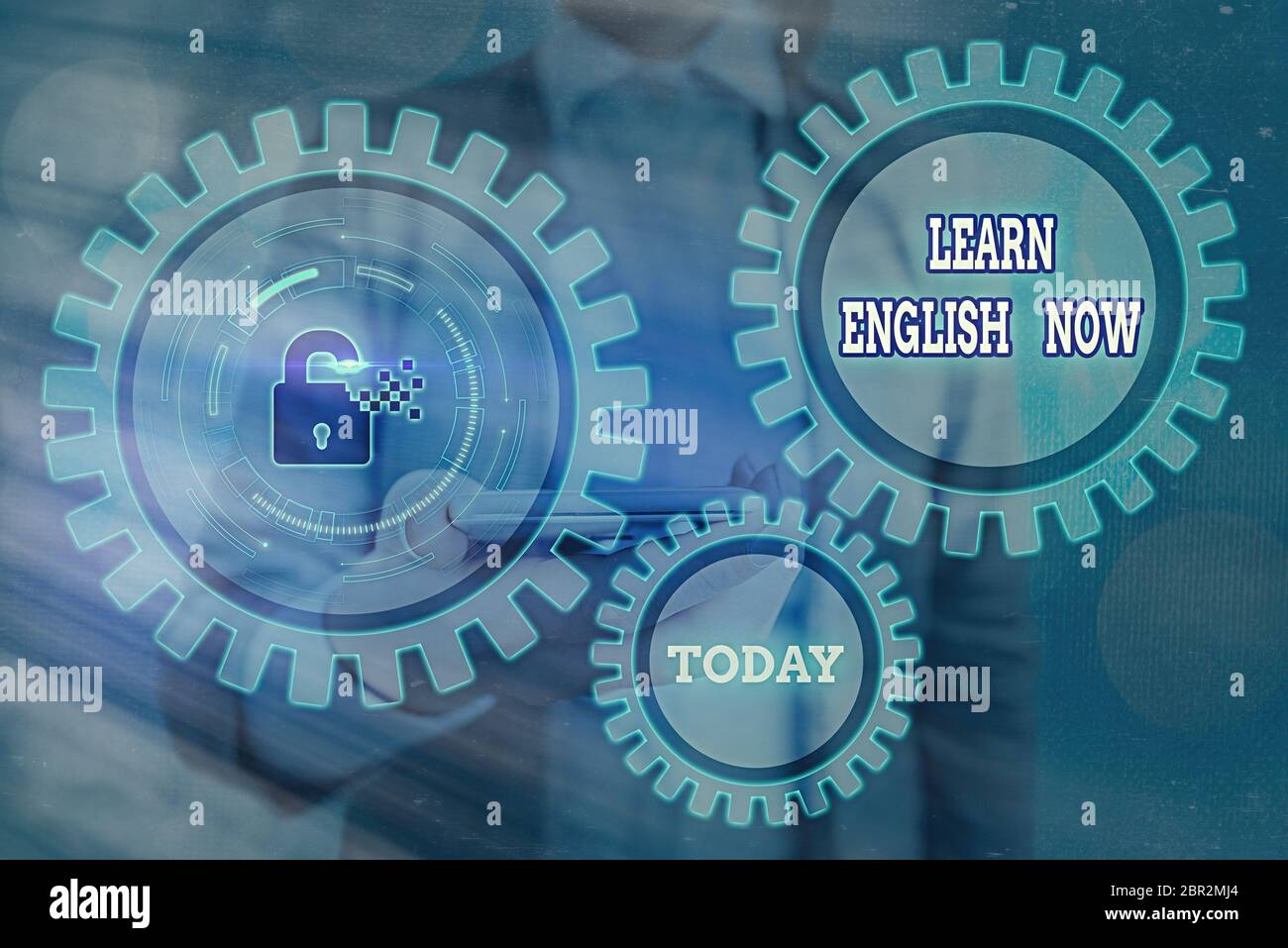 Text sign showing Learn English Now. Business photo showcasing gain or acquire knowledge and skill of english language Stock Photo