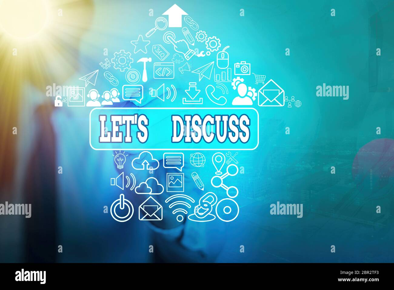 Writing note showing Let S Discuss. Business concept for asking someone to talk about something with an individual or showing Stock Photo