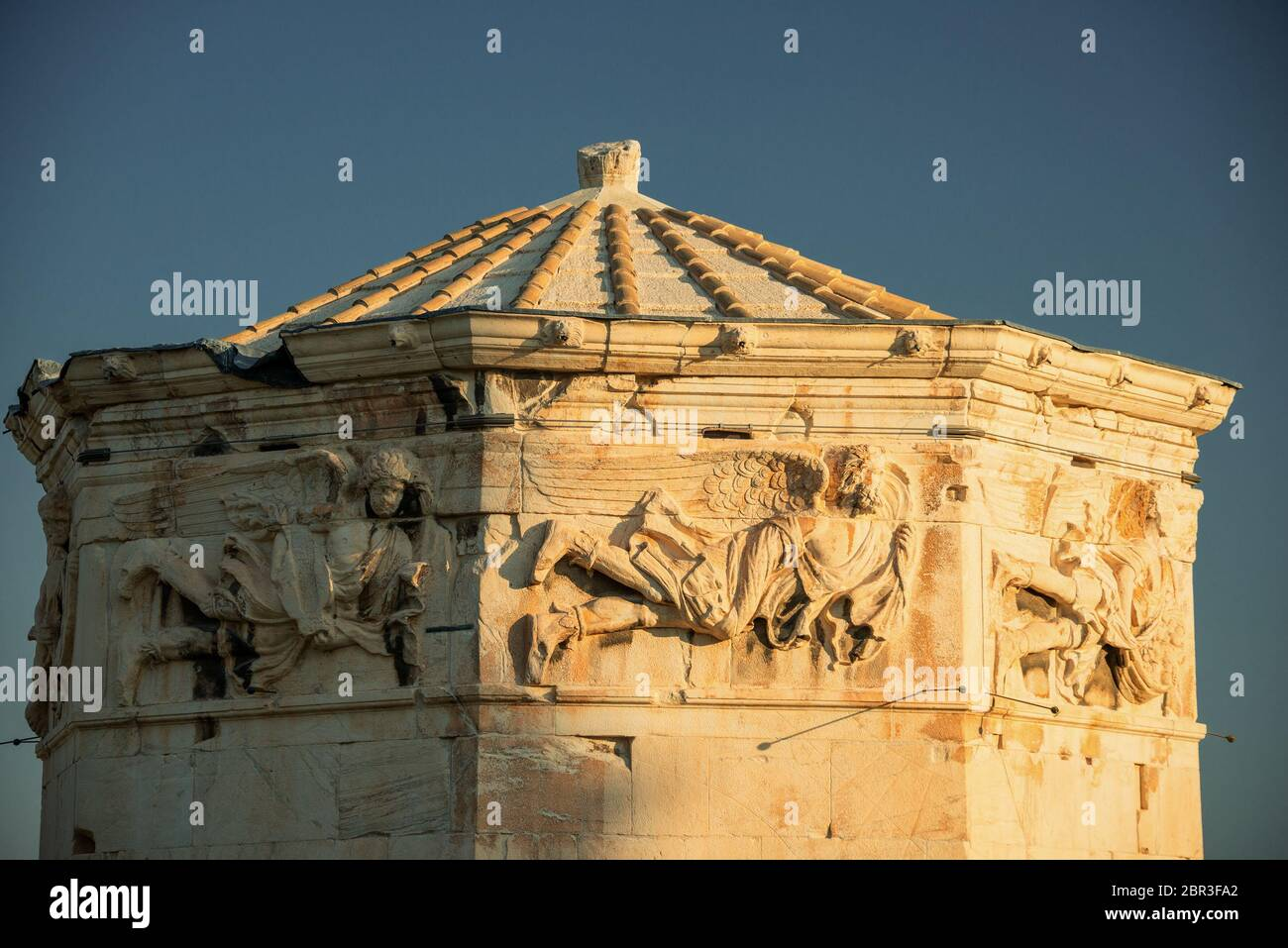 Tower of Winds or Aerides on Roman Agora, Athens, Greece. It is one of the main landmarks of Athens. Stock Photo