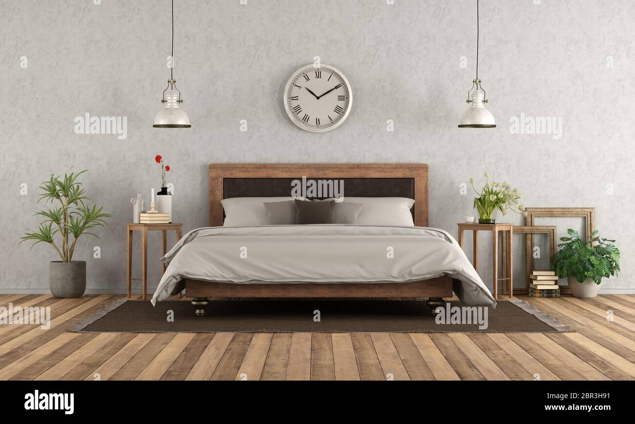 Master Bedroom Classic Style Double Bed Nightstand Wall High Resolution Stock Photography And Images Alamy