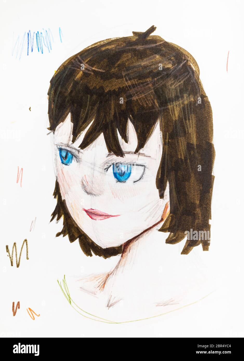 portrait of girl with blue eyes and brown hair hand drawn by ...