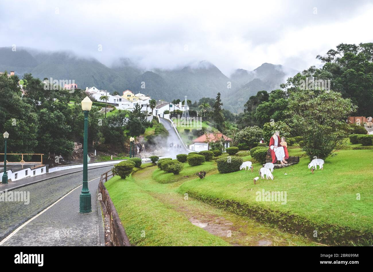 Portugal 2020 Christmas Furnas, Azores, Portugal   Jan 13, 2020: Volcanic hot springs in