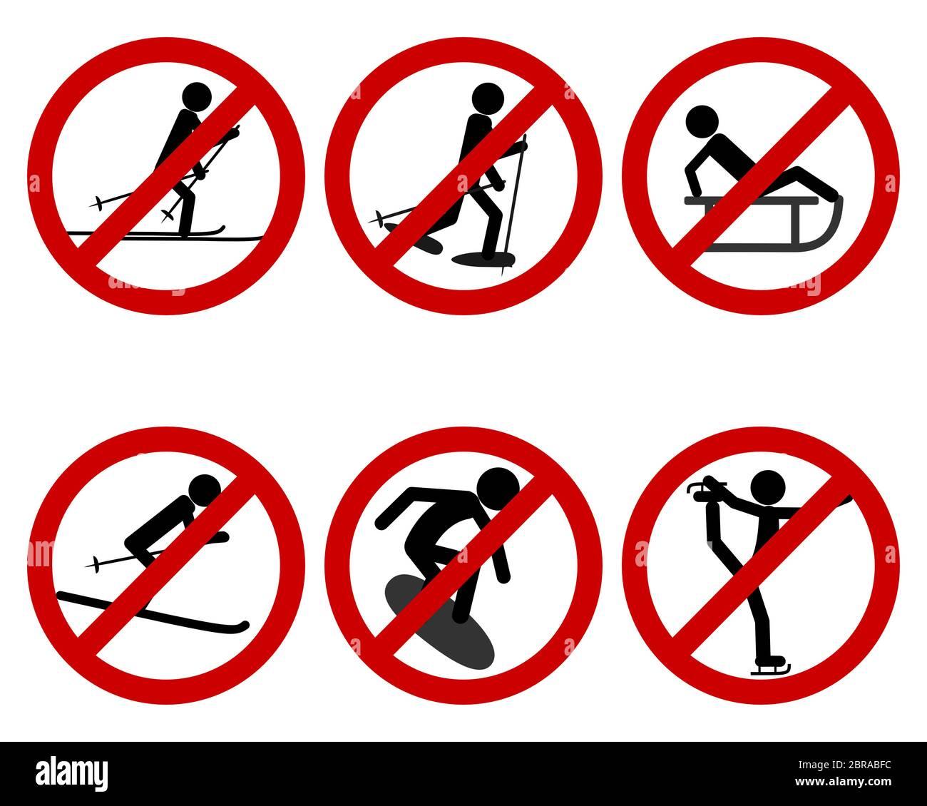Verkehrsschild Verbot verschiedener Sportarten Stock Photo