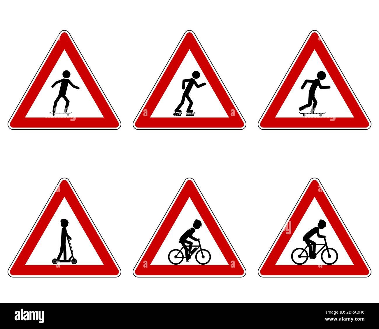 Verkehrsschild für verschiedene Sportarten Stock Photo