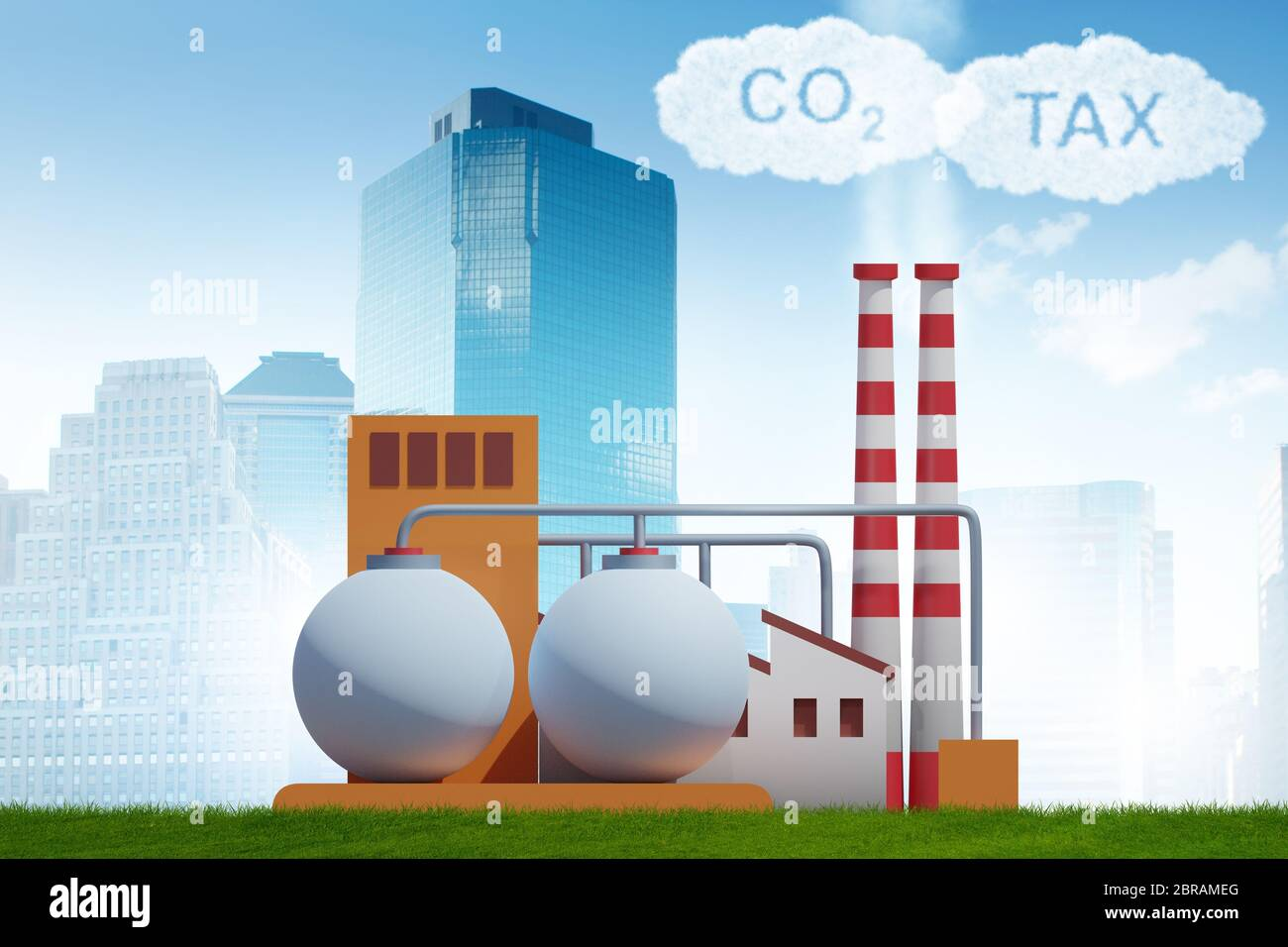 Plant in carbon tax and the pollution concept - 3d rendering Stock Photo