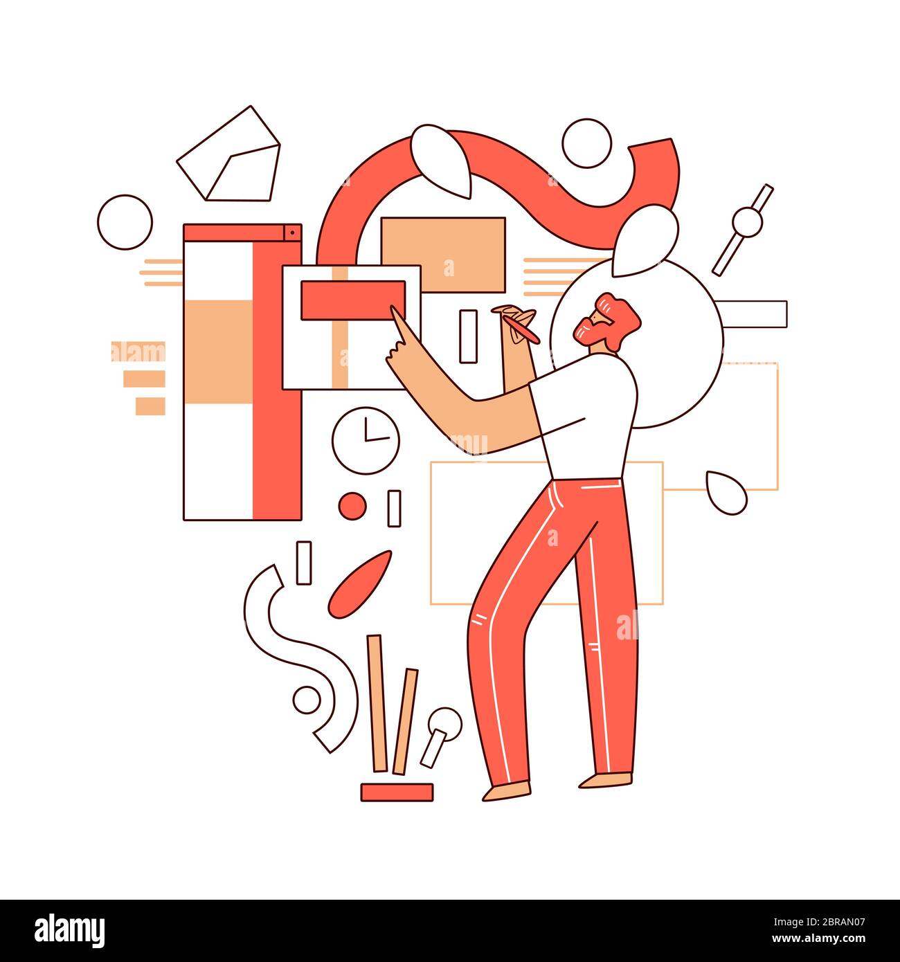 Online education vector flat concept - Man character standing in front of abstract educational elements, web app, video course in computer, science Stock Vector