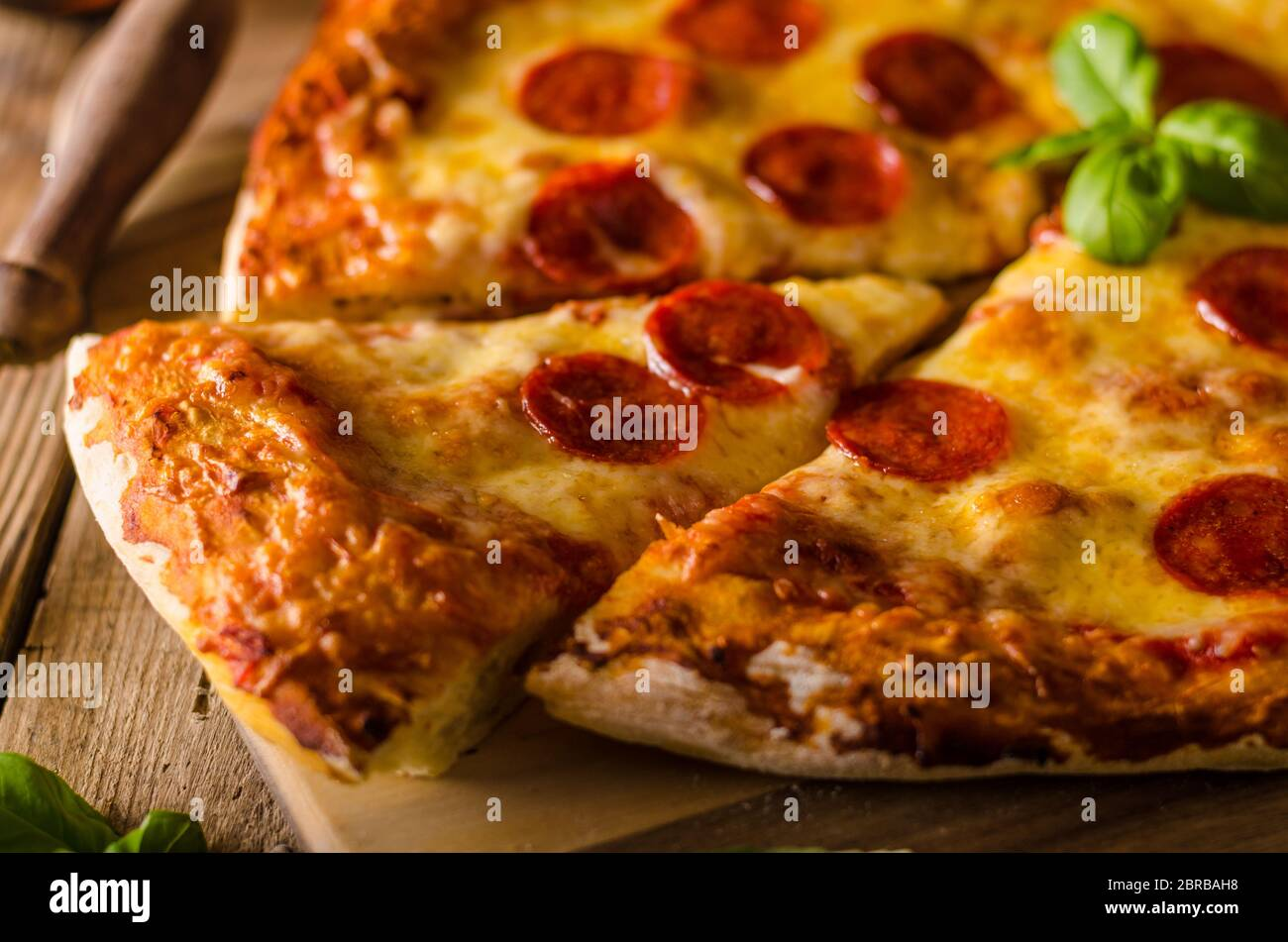 Homemade Cheese Pizza With Salami Delicious Pizza With Cheddar Stock Photo Alamy
