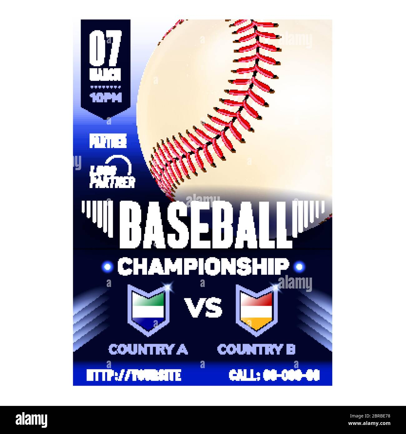 Baseball Stadium Sport League Flyer Banner Vector Stock Vector