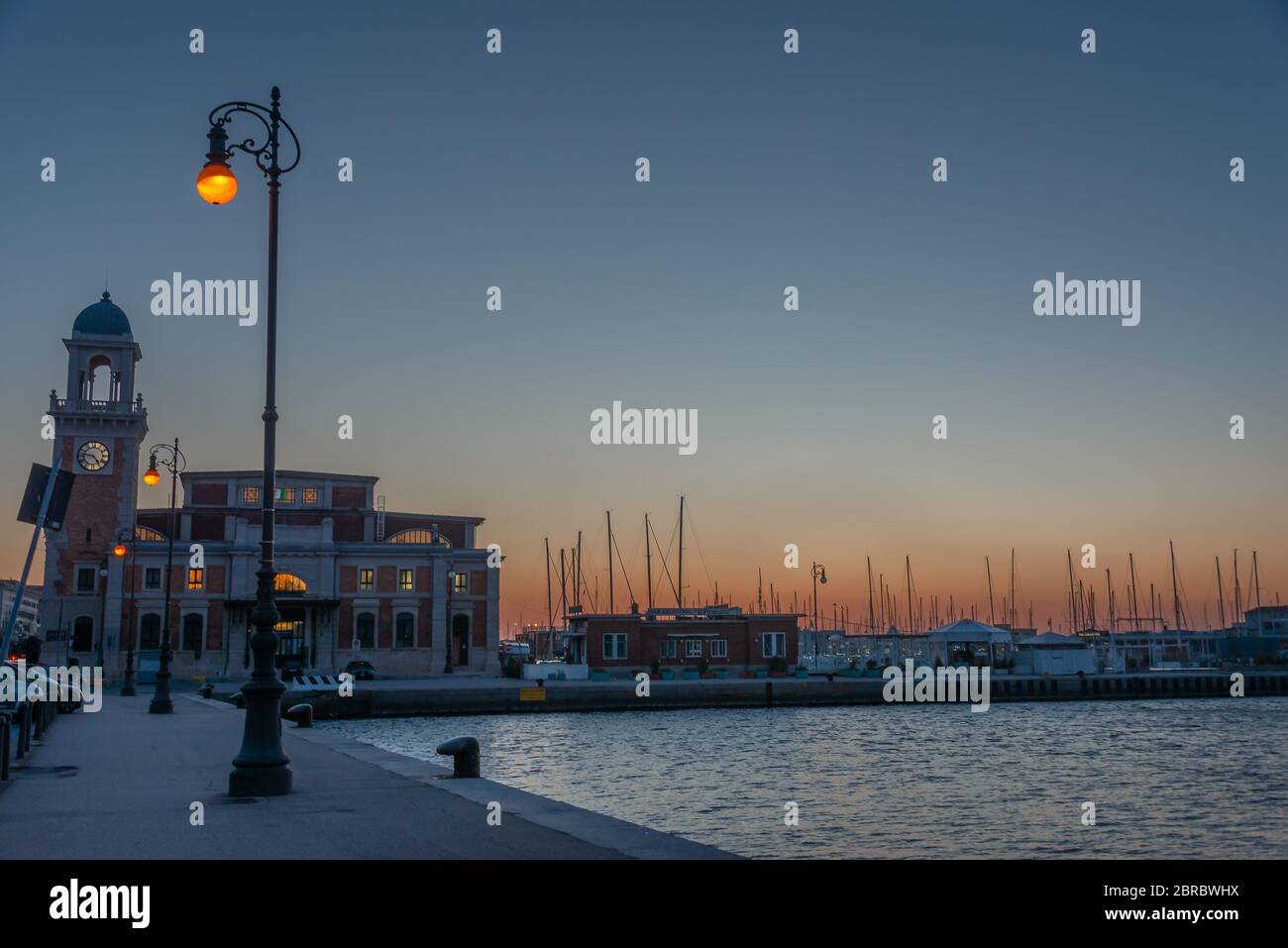 The Molo Audace pier of Trieste in a winter evening Stock Photo