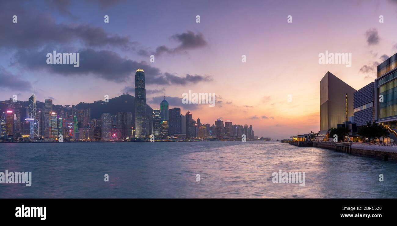 Hong Kong Island skyline at sunset, Hong Kong Stock Photo
