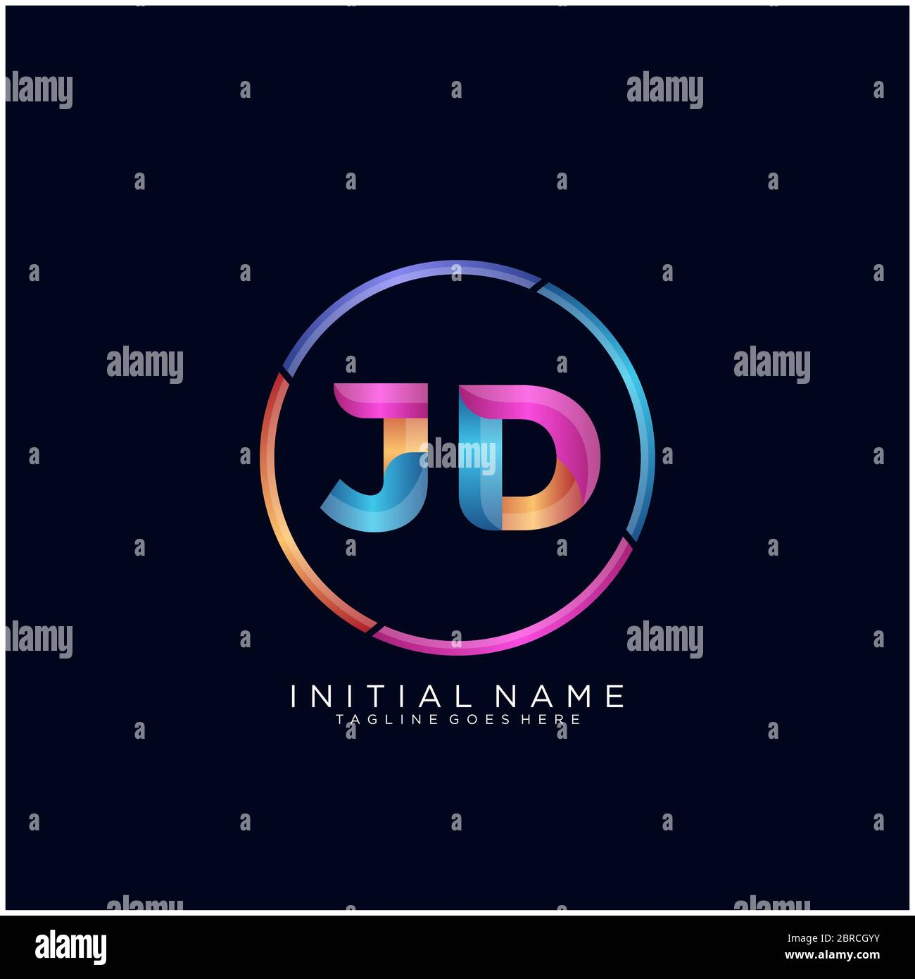 initial letter jd curve rounded logo gradient vibrant colorful glossy colors on black background stock vector image art alamy alamy