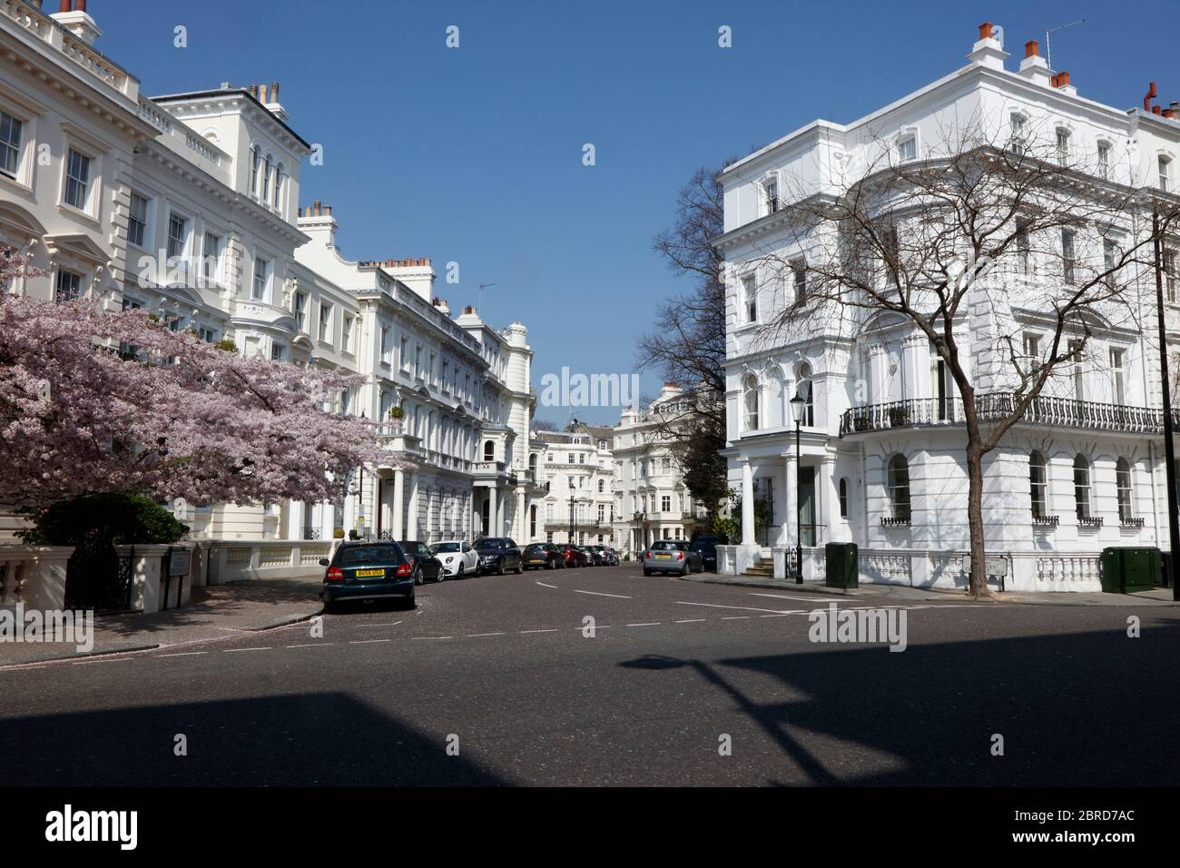 View across Kensington Park Gardens to Stanley Crescent, Notting Hill, London, UK Stock Photo