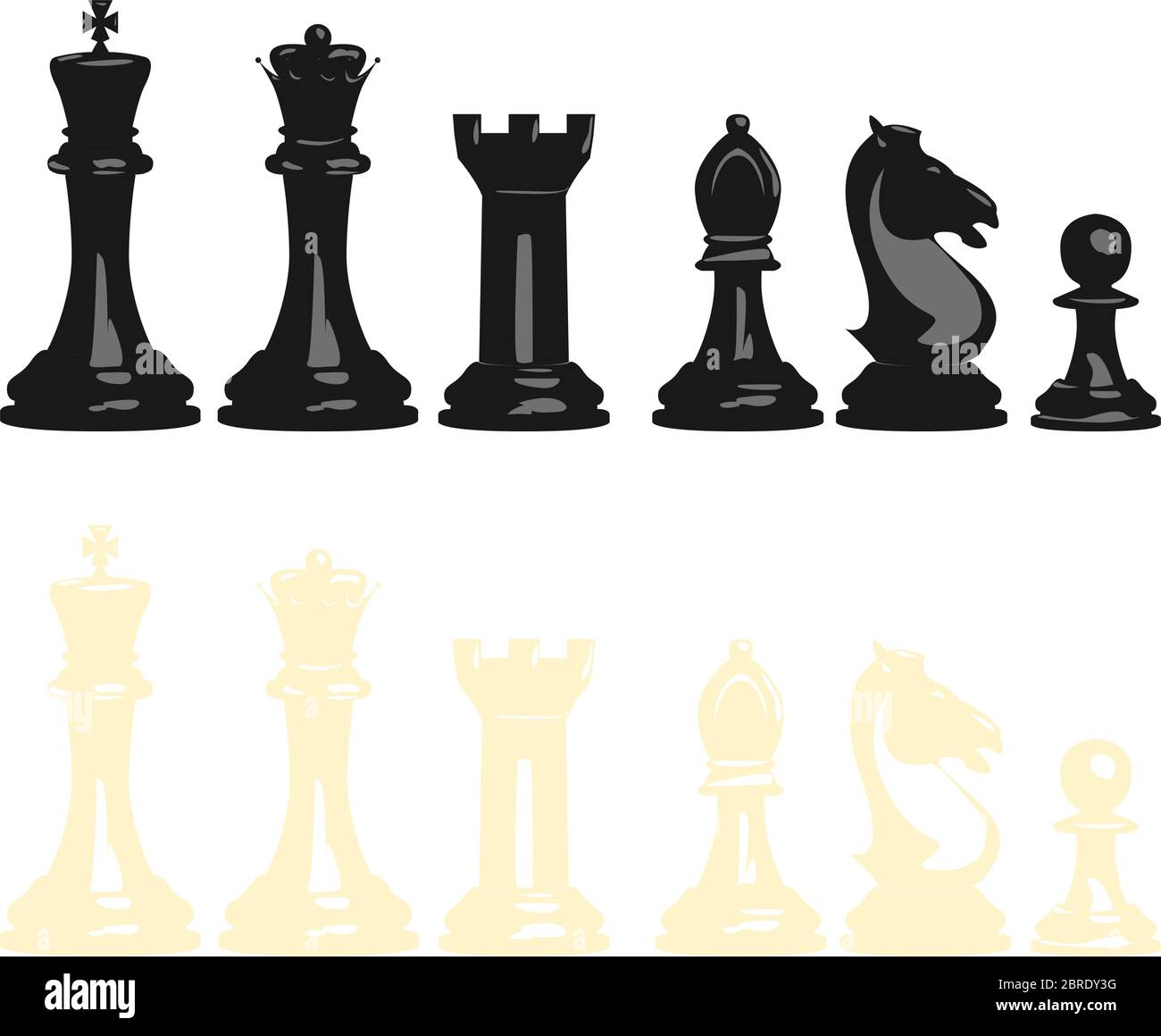 Vector illustration set of chess pieces, blacks and whites, contains all pieces: king, queen, tower, bishop, knight and pawn. Stock Vector