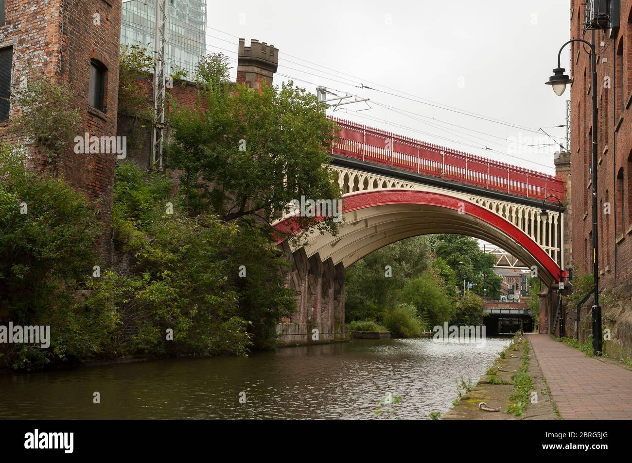Victorian railway viaducts of the Castlefield Viaduct over the Bridgewater Canal, Manchester, England. Stock Photo