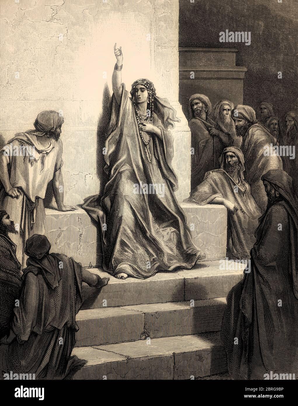 Deborah Praises Jael, Old Testament, Gustave Doré, 1863 Stock Photo