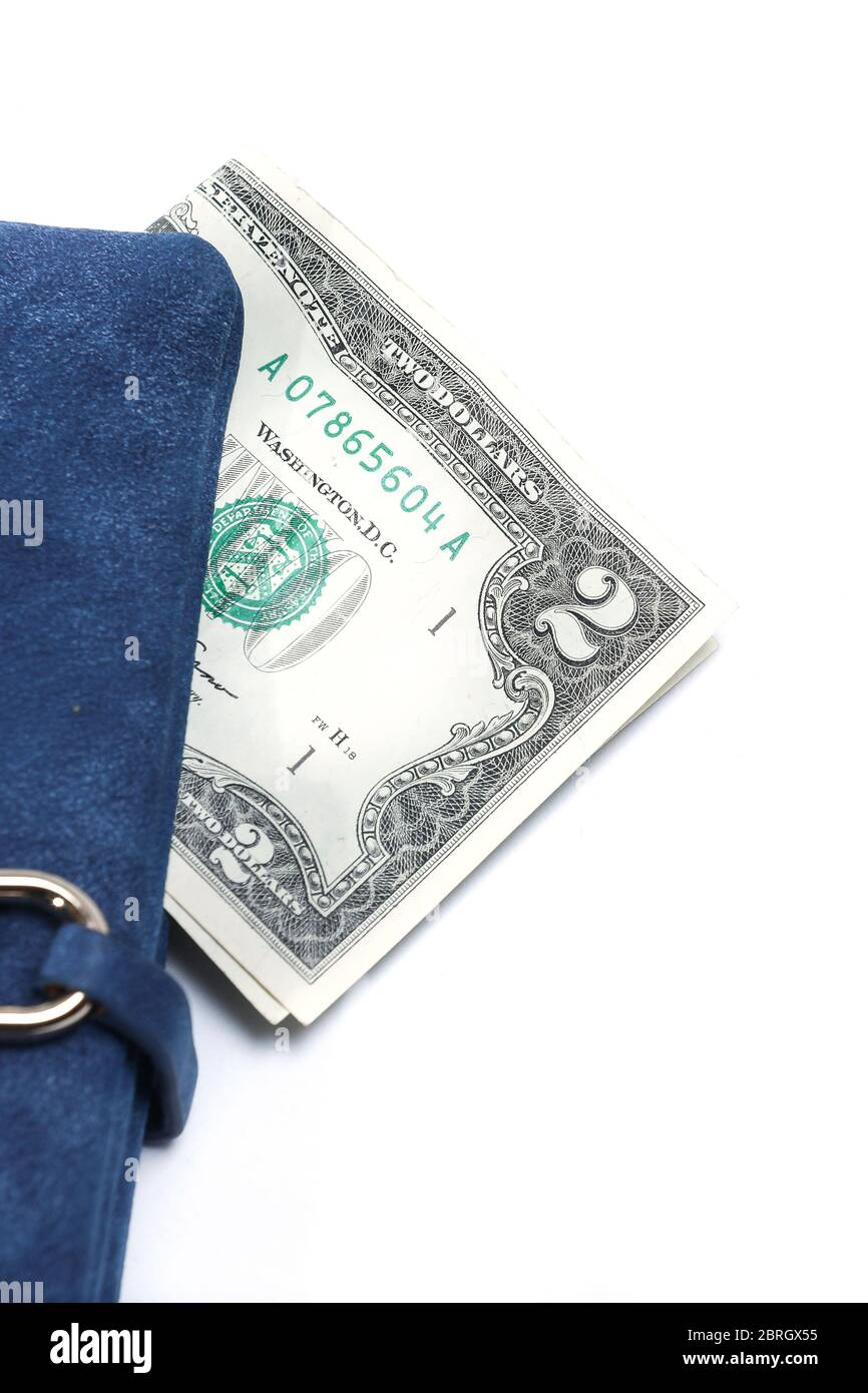 2 dollar banknote in a blue wallet isolated on a white background. Financial crisis. Lack of money. Digital banking. Decentralized money. Stock Photo
