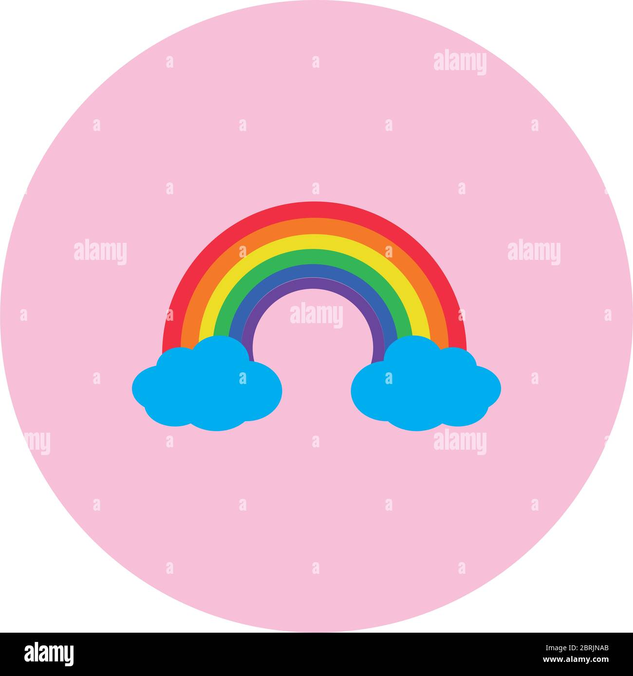rainbow and clouds icon over white background, block style, vector illustration Stock Vector