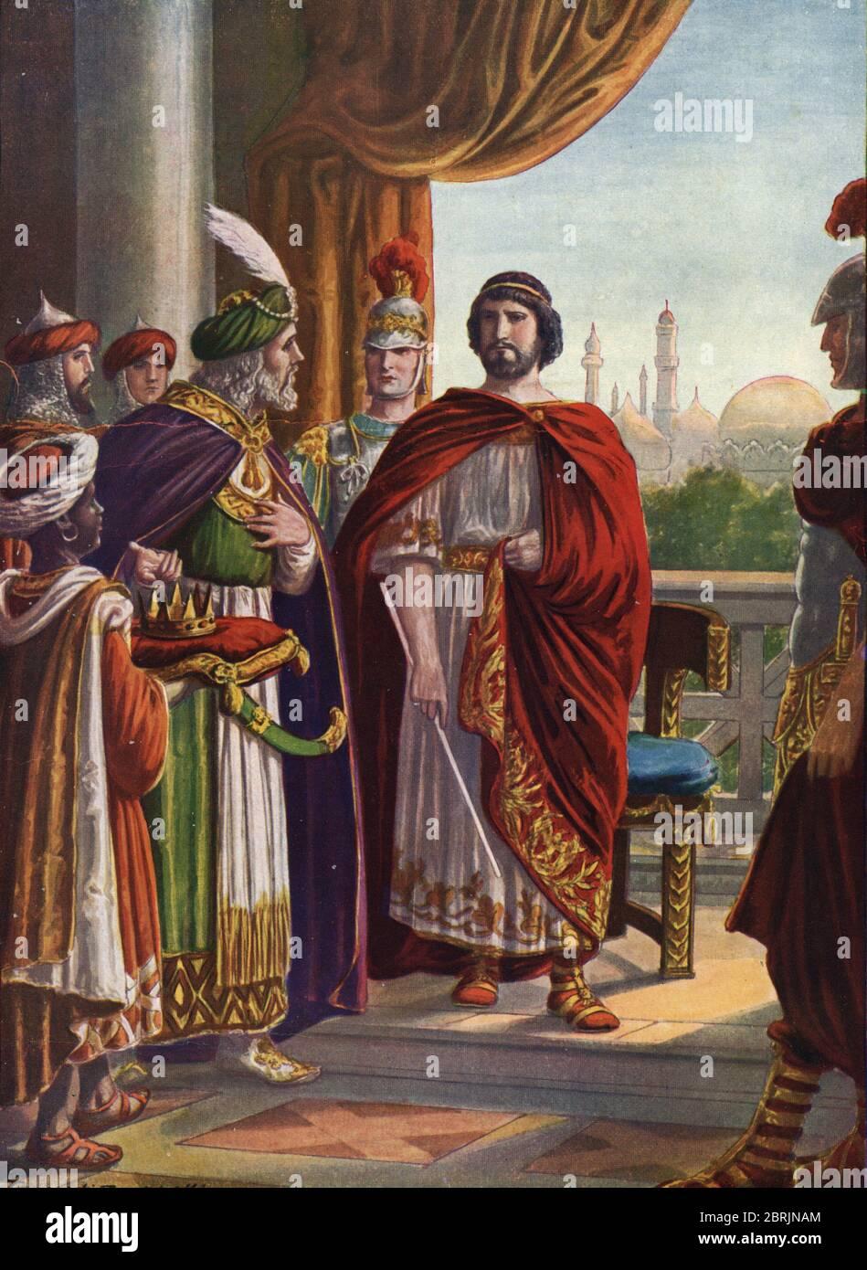 """Antiquite romaine : l'empereur Julien l'apostat (Julien le Philosophe ou Julien II) victorieux du roi de Perse Shapur II en 363 apres JC"""" (Roman emper Stock Photo"""