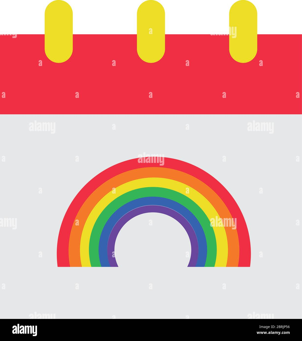 calendar with rainbow icon over white background, flat style vector illustration Stock Vector