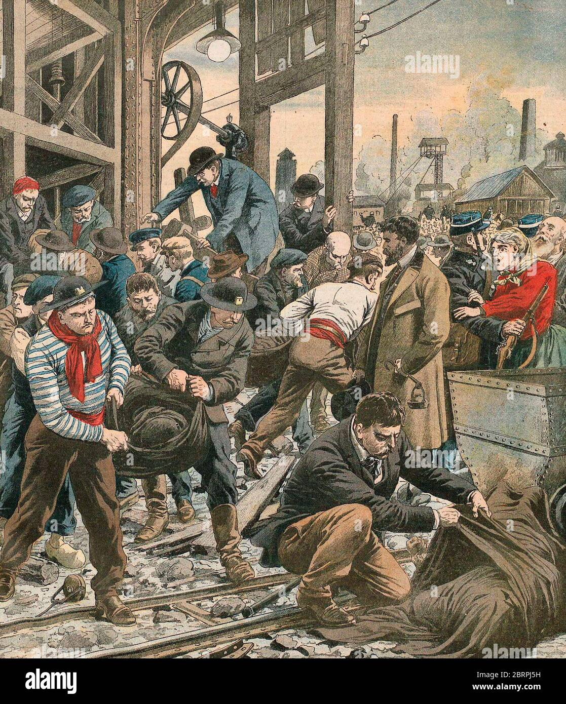 The Courrieres Mine Disaster - Victims Bodies Come to light - Saturday 10 March 1906 Stock Photo