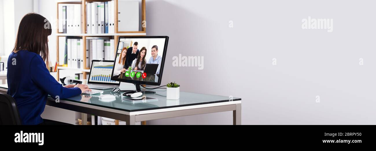 Business Video Conference Call. Online Office Meeting Stock Photo