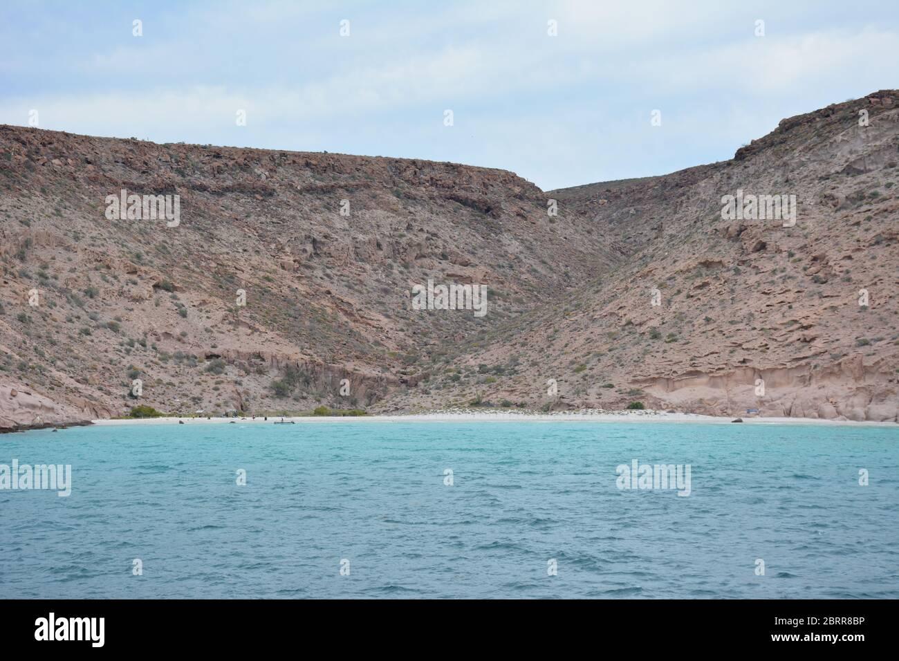 A choppy day at Playa Ensenada Grande on Isla Espiritu Santo, Sea of Cortez, Baja California Sur, Mexico. Stock Photo