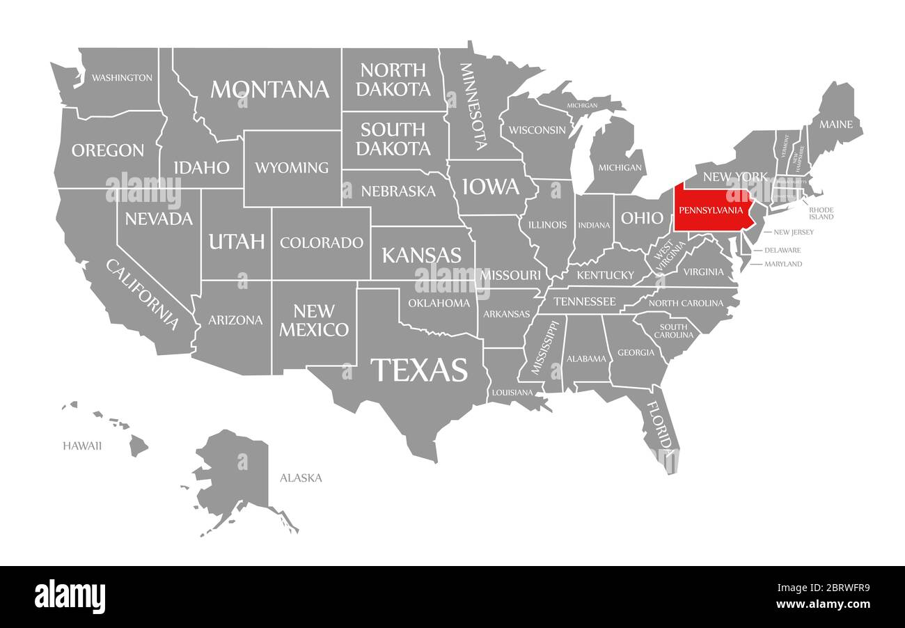 Map Of Us Pennsylvania Pennsylvania red highlighted in map of the United States of