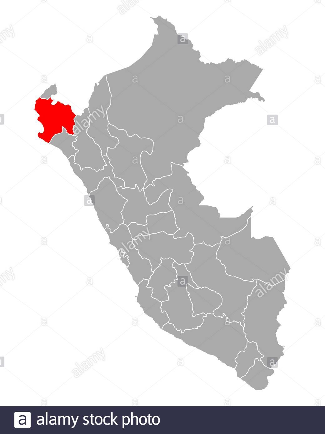 Map Of Piura In Peru Stock Photo Alamy