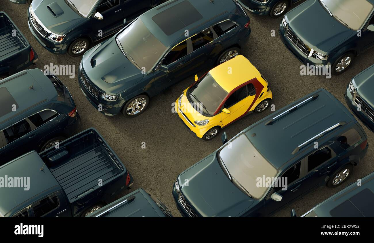 3D rendering of a conceptual image of a small eco friendly city cars contrasting with big oil consuming vehicles. Stock Photo