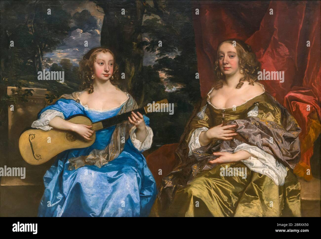 Two Ladies of the Lake Family, by Peter Lely, 1660's, Stock Photo
