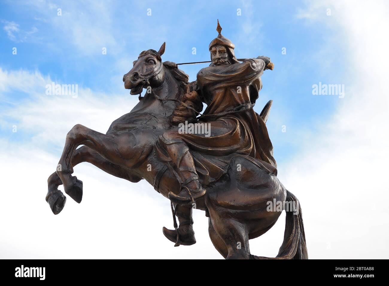 Statue of the famous warrior Saladin (Salah ad-Din) in front of the fortress of Kerak ( Al Karak), Jordan Stock Photo