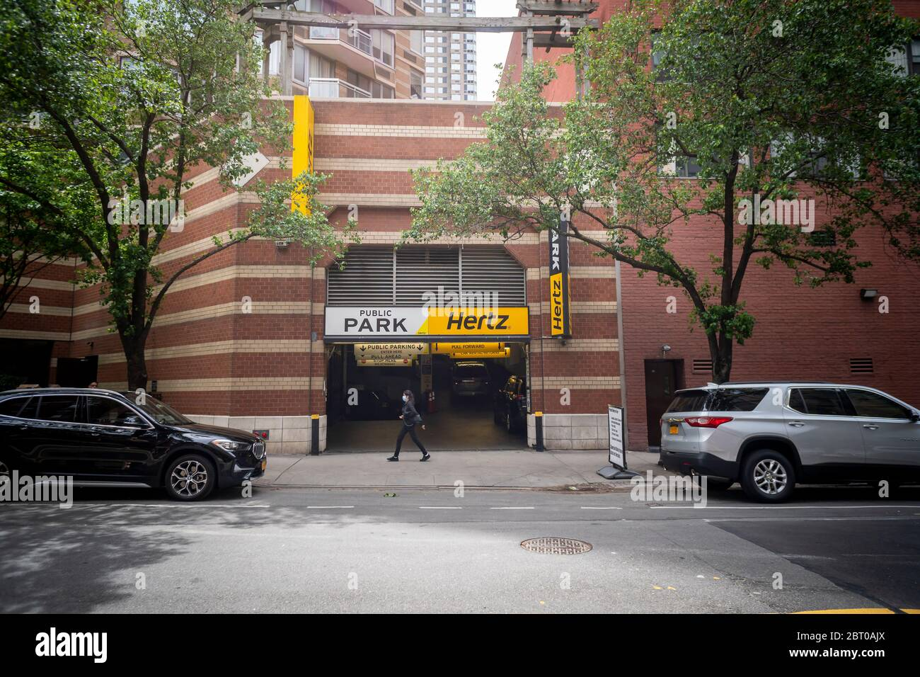 A garage renting Hertz vehicles in New York on Tuesday, May 19, 2020. Hertz is reported to be preparing for a possible bankruptcy of its U.S. division.(© Richard B. Levine) Stock Photo