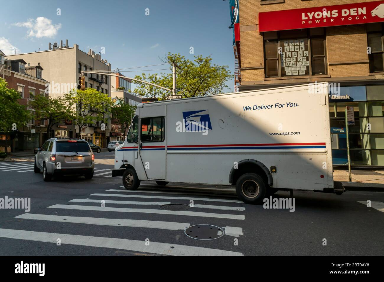 A USPS vehicle in Chelsea in New York on Friday, May 15, 2020. (© Richard B. Levine) Stock Photo