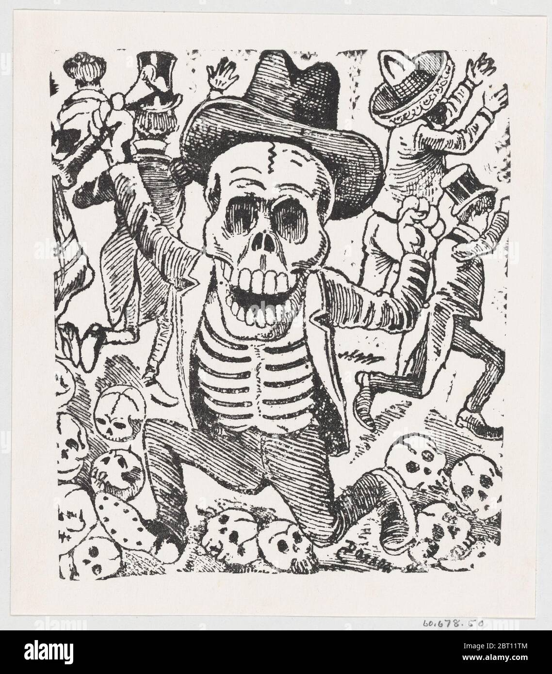 A skeleton holding a bone and leaping over a pile of skulls while people flee, from a broadside entitled 'Las bravisimas calaveras Guatemaltecas', ca. 1907. Stock Photo
