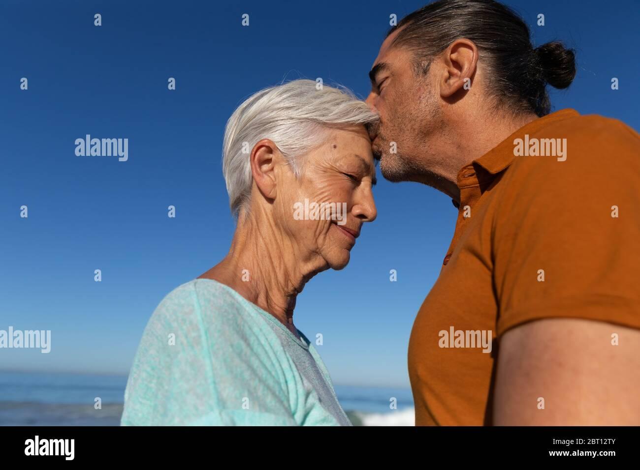 Senior Caucasian couple enjoying time at the beach Stock Photo