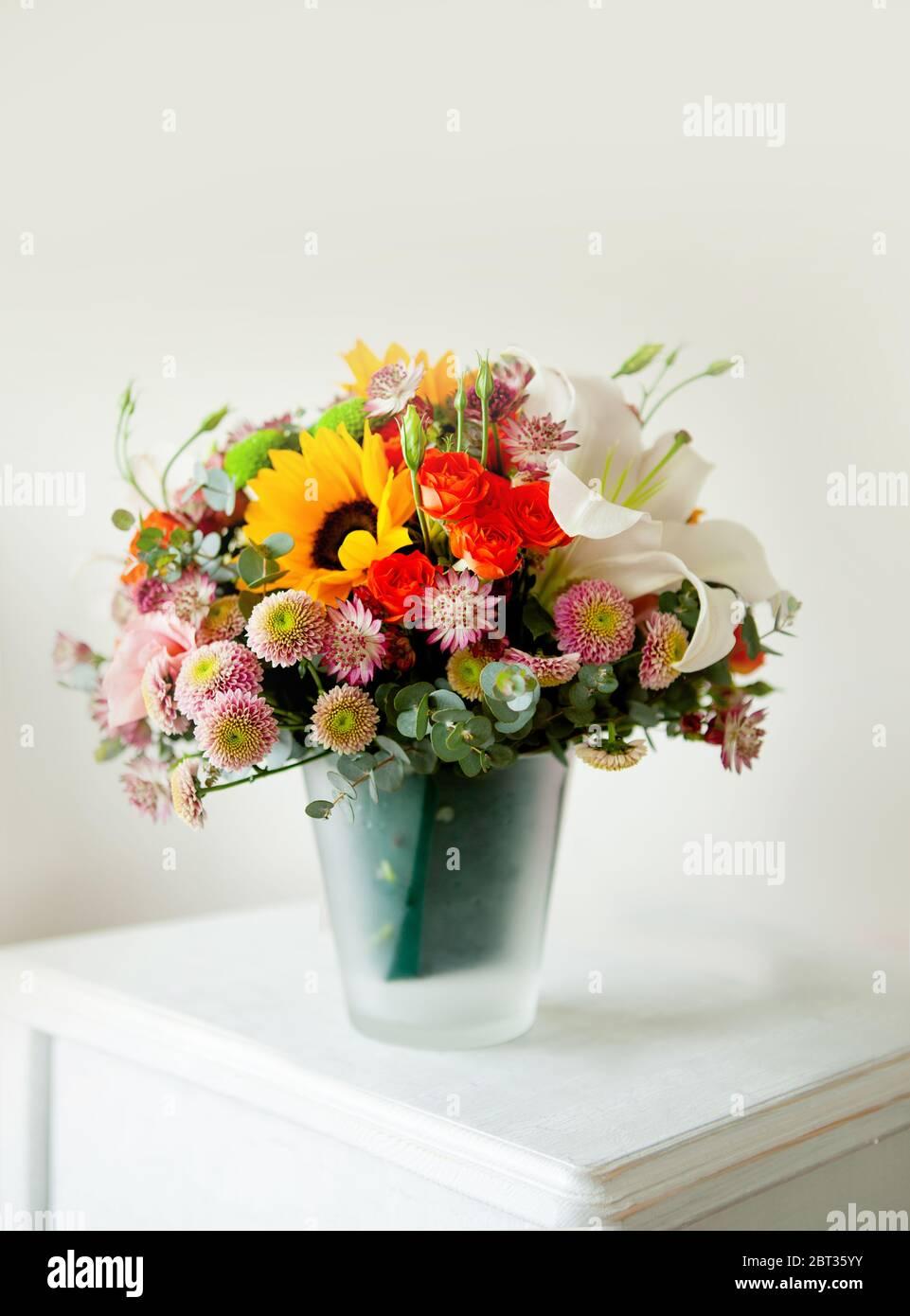 Floral Bouquet With Lily Sunflower Chrysanthemum Eustoma Lisianthus Astrantsiya Eucalyptus Shrub Rose Stock Photo Alamy