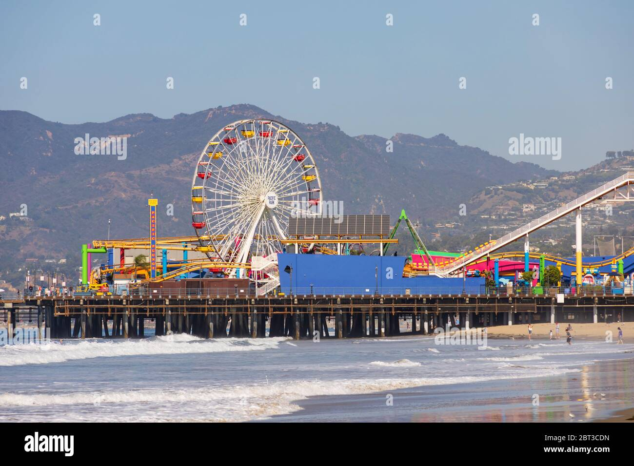 Santa Monica pier and beach, Los Angeles, California, United States of America. Stock Photo