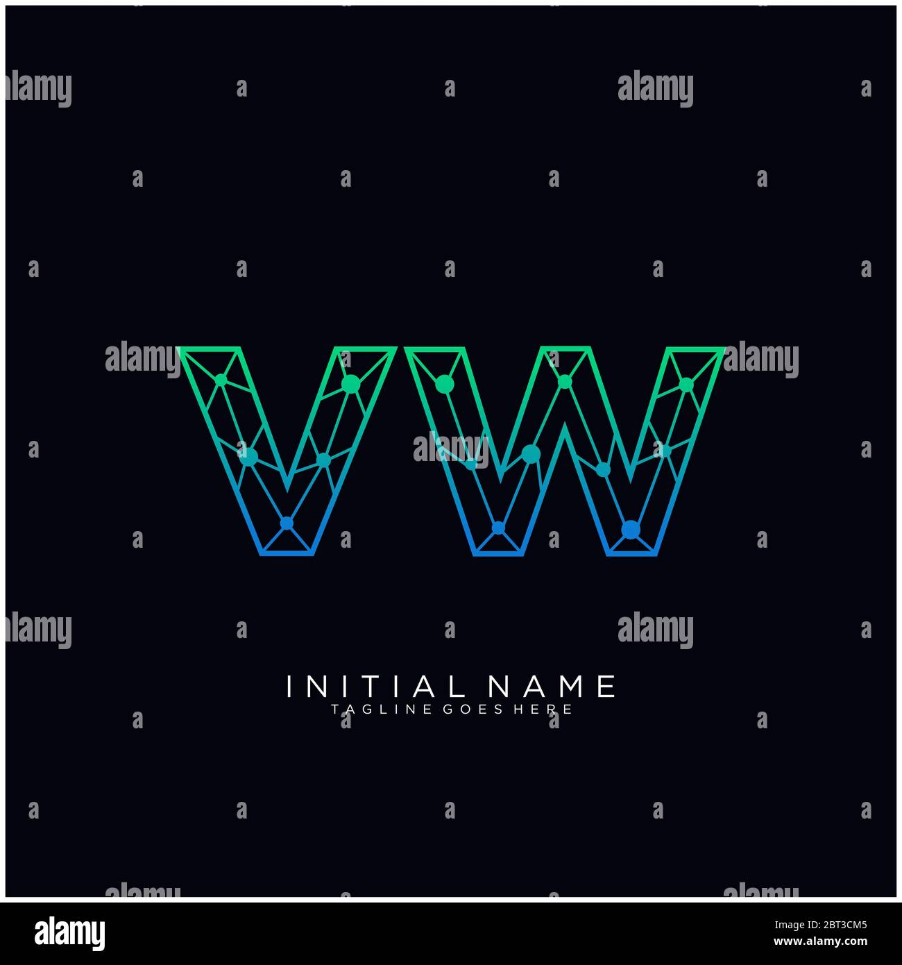 Initial Letter Vw Abstract Line Art Logo Template Stock Vector Image Art Alamy