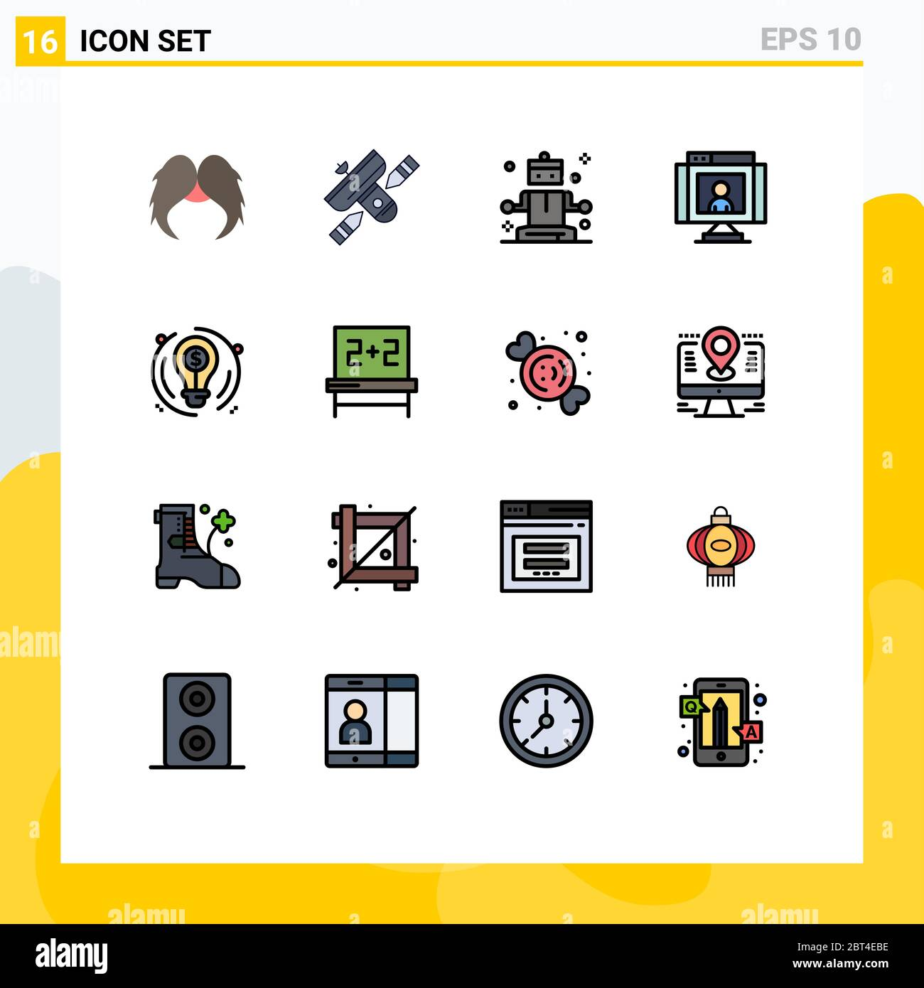Modern Set Of 16 Flat Color Filled Lines Pictograph Of Webcam Technology Satellite Communications Wellness