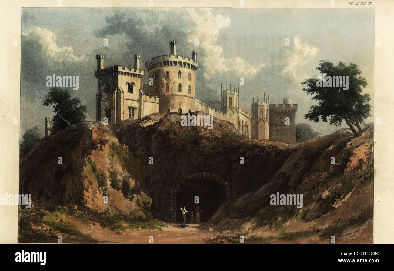 Belvoir Castle, Leicestershire, seat of John Manners, 5th Duke of Rutland. Built in the romantic Gothic Revival style to designs by the architect James Wyatt and restored by Sir James Thornton. Handcoloured copperplate engraving after an illustration by W. Westall from Rudolph Ackermanns Repository of Arts, London, 1825. Stock Photo