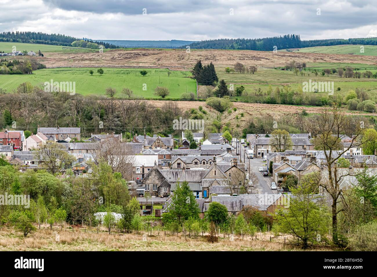 Newcastleton, Hawick, Scottish Borders, UK. 5th May 2020. The Scottish Borders village of Newcastleton. The ratio of people aged over 60 years old is Stock Photo