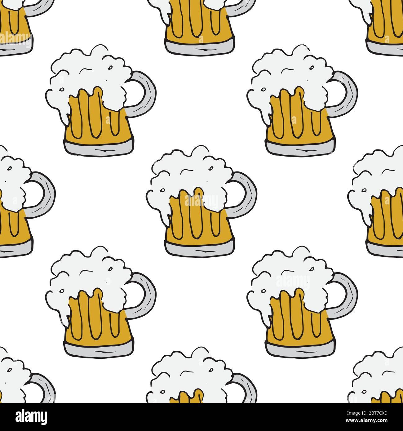 Beer Mug Seamless Pattern Hand Drawn Doodle Background Vector Illustration Stock Vector Image Art Alamy
