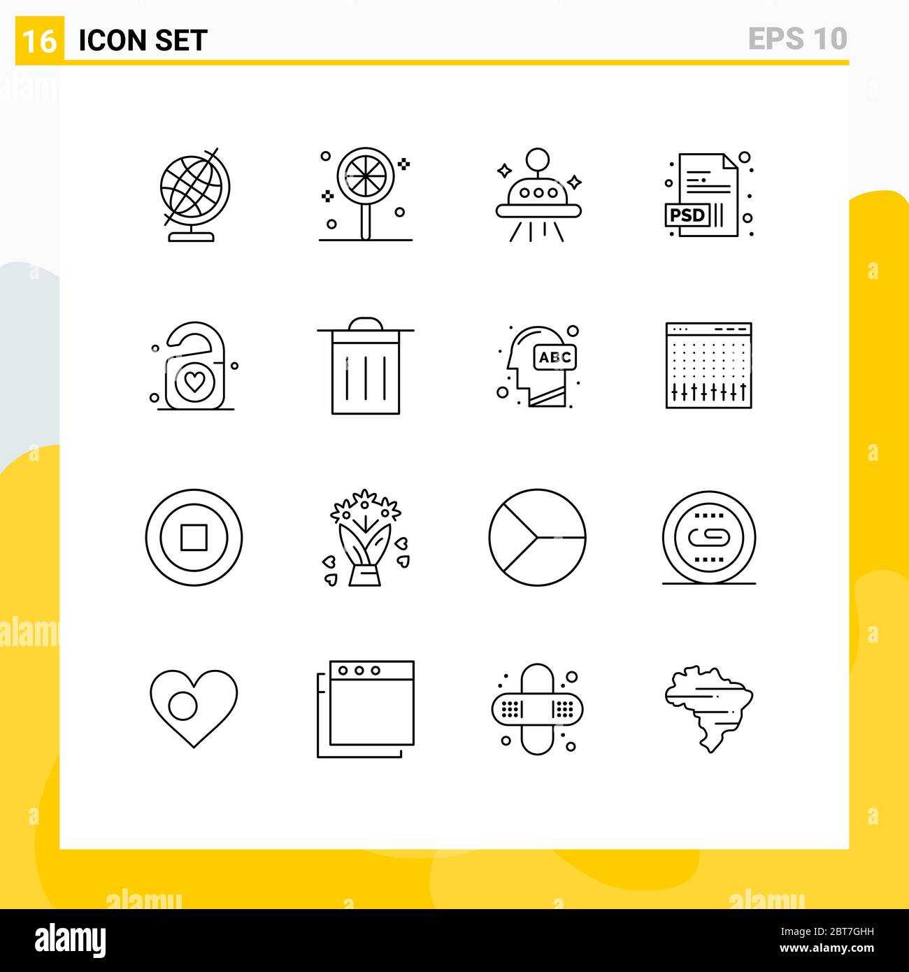 User Interface Pack of 16 Basic Outlines of trash, wedding, ufo, heart, tag Editable Vector Design Elements Stock Vector