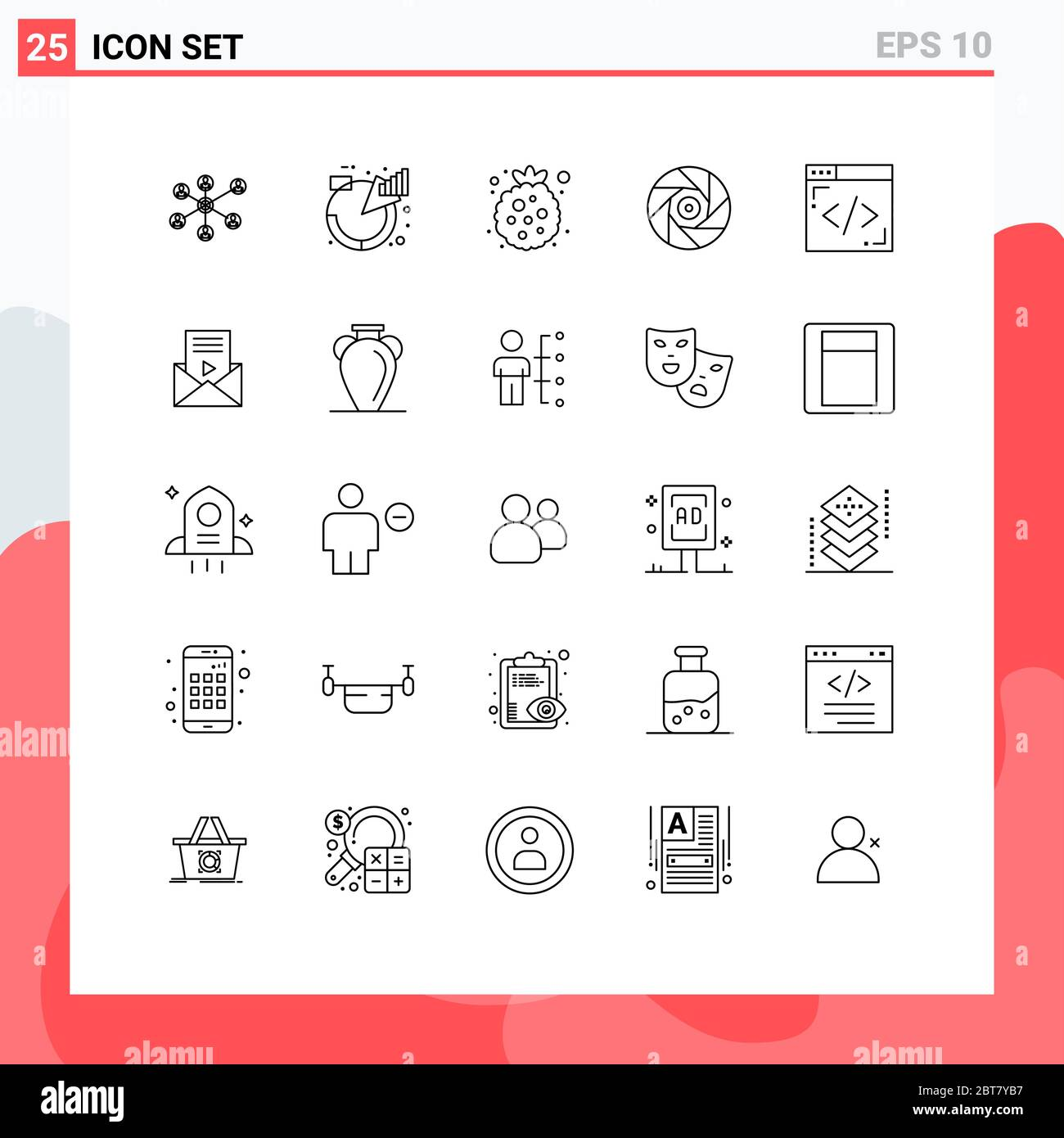 25 Thematic Vector Lines and Editable Symbols of coding, movie, product, entertainment, raspberry Editable Vector Design Elements Stock Vector