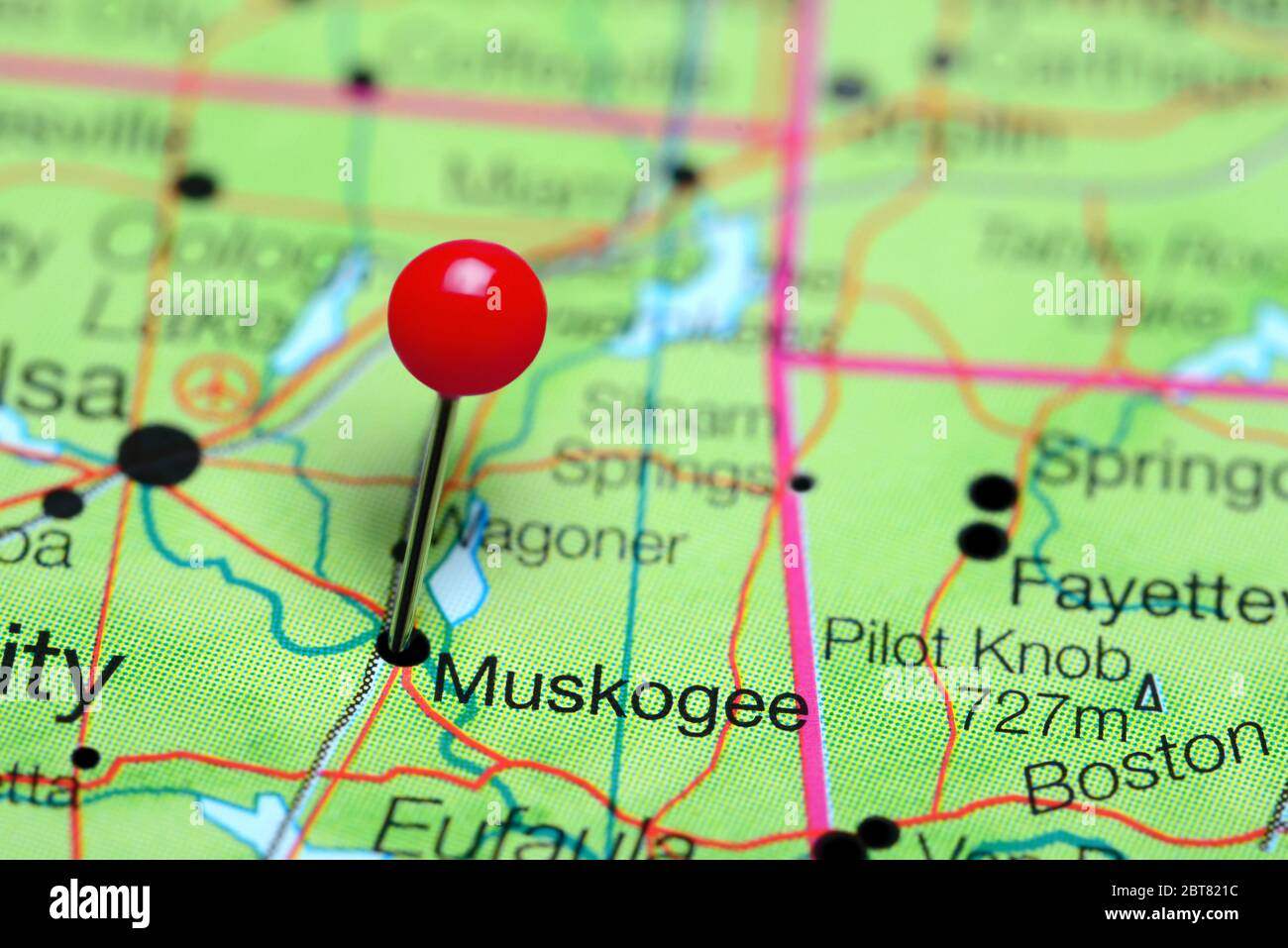 Muskogee pinned on a map of Oklahoma, USA Stock Photo