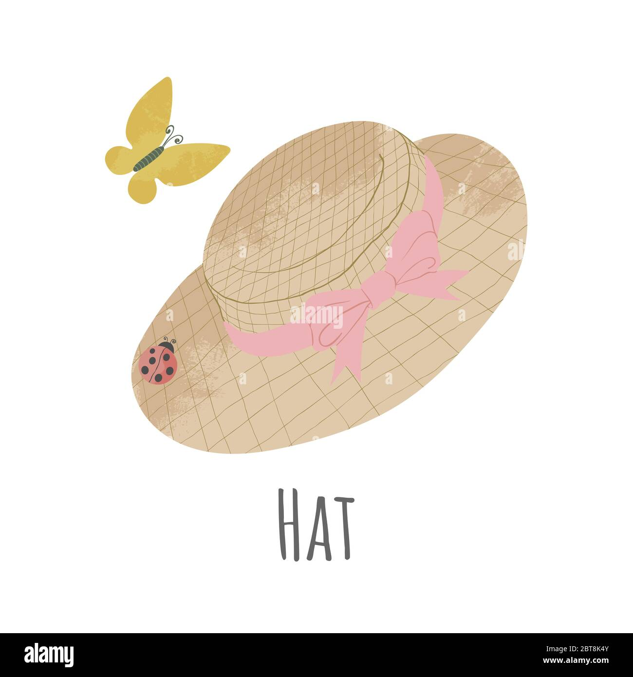 Vector hand drawn icon of straw hat with pink ribbon. Cartoon illustration in flat style. Gardening hat on white background Stock Vector