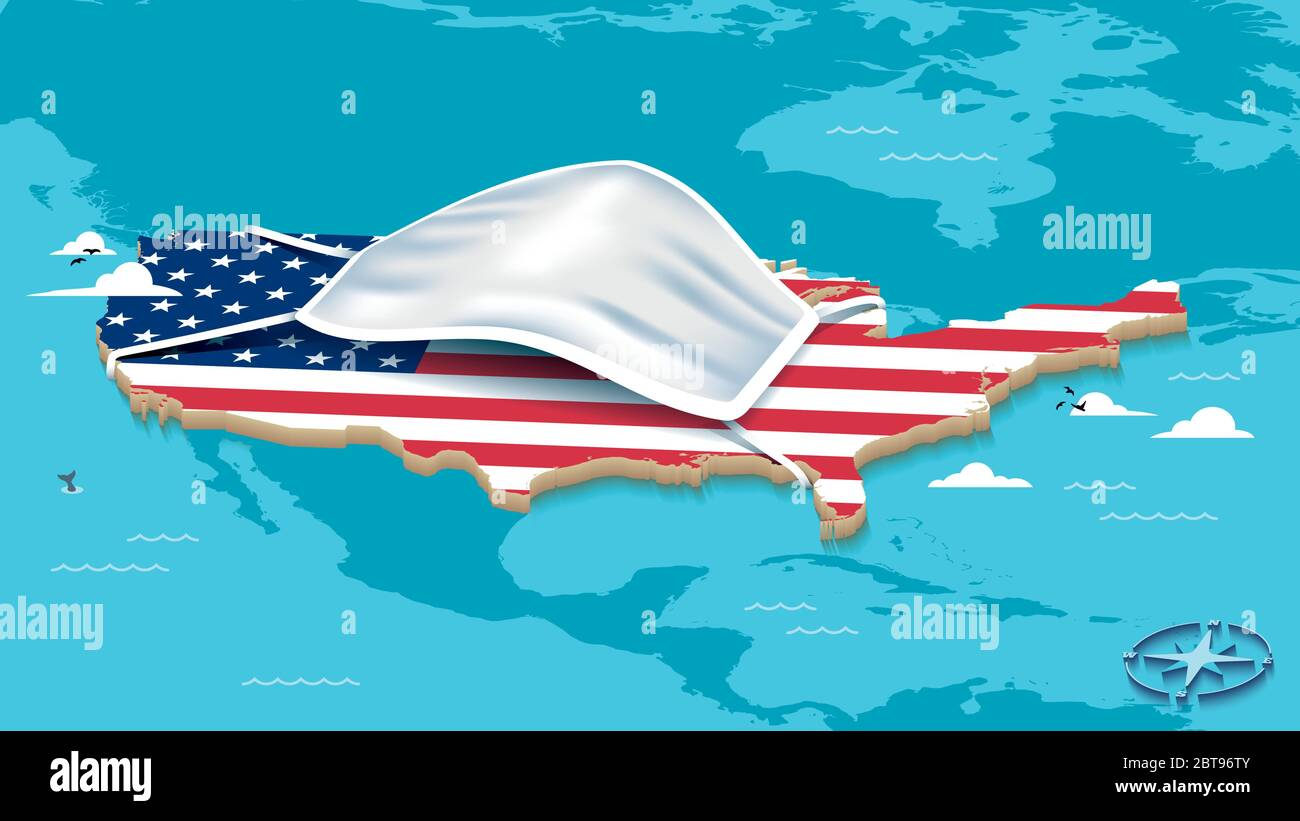 Map Of The United States Of America With USA Flag and Face Mask Stock Vector