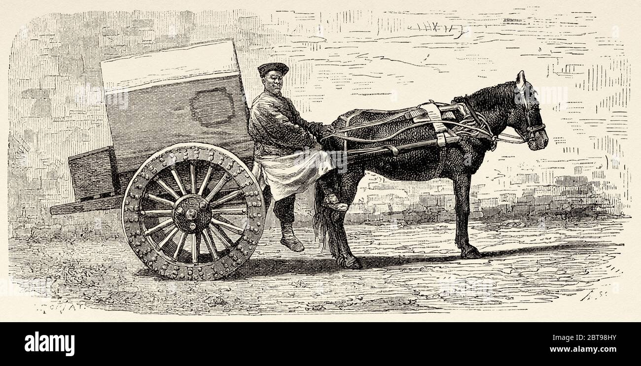 Chinese Carriage Pulled By A Horse China Old 19th Century Engraved Illustration Trip To Beijing And North China 1873 Stock Photo Alamy