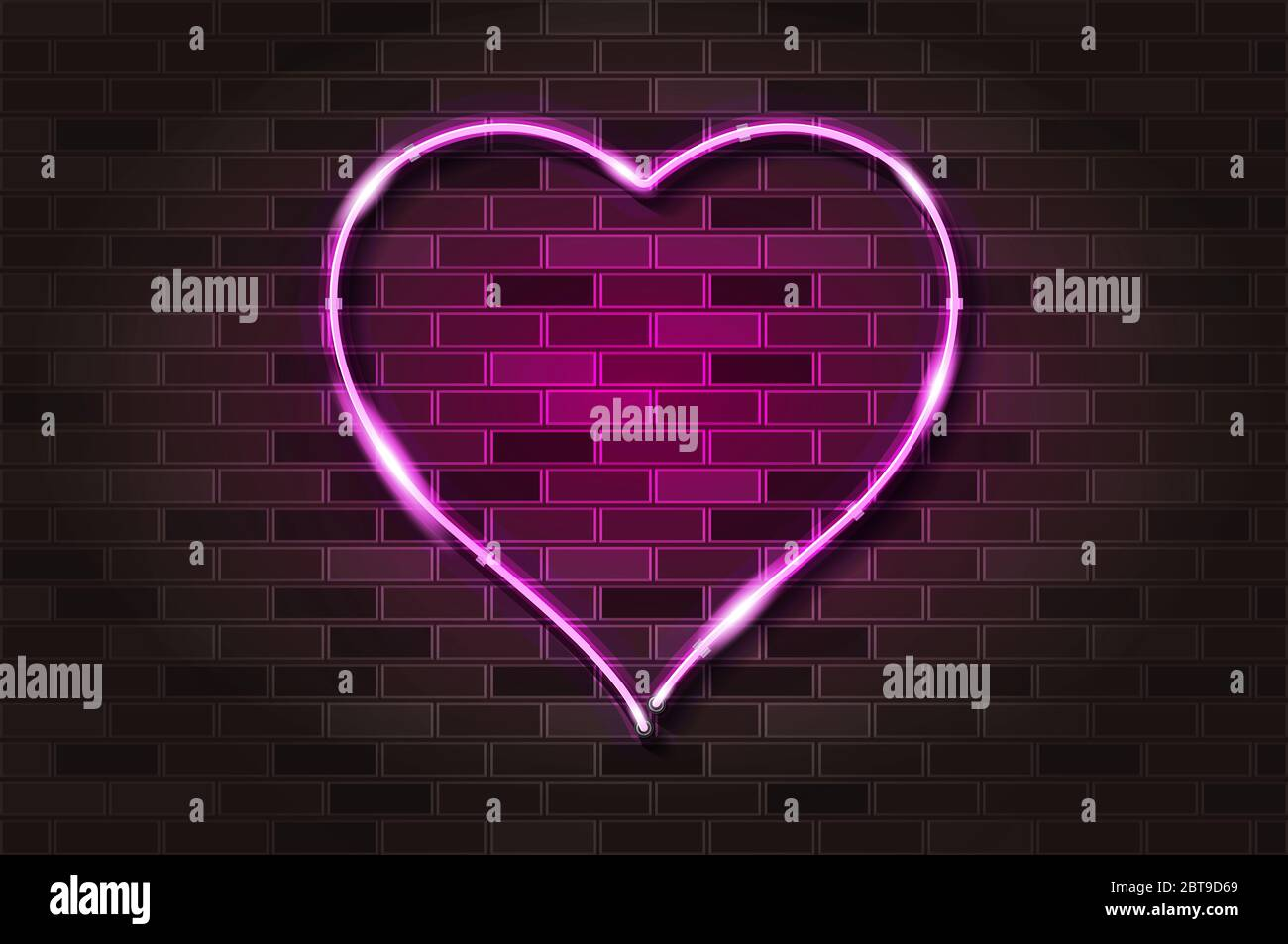 Big Pink Heart Glowing Neon Sign Or Led Strip Light Realistic Illustration Black Brick Wall Soft Shadow Metal Holders Stock Photo Alamy
